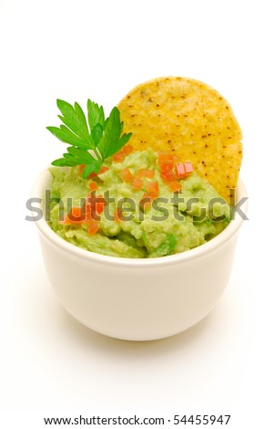 bowl of guacamole isolated - stock photo
