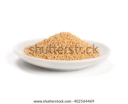 bowl of healthy amaranth seeds isolated on white - stock photo