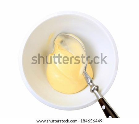 Bowl of homemade mayonnaise - overhead view - stock photo