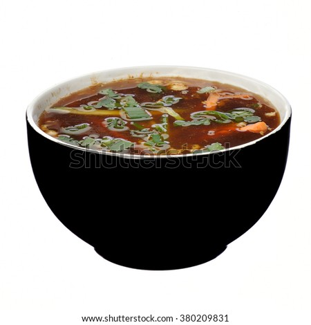 bowl of Hot and Sour Soup asian food - stock photo