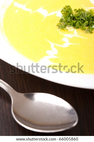 Bowl of hot delicious pumpkin soup