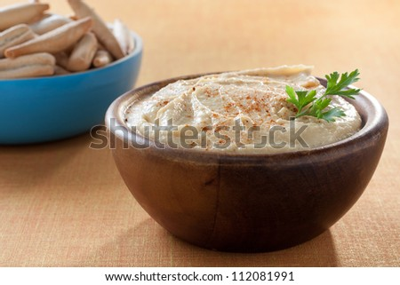 bowl of hummus with parsley and bread sticks - stock photo