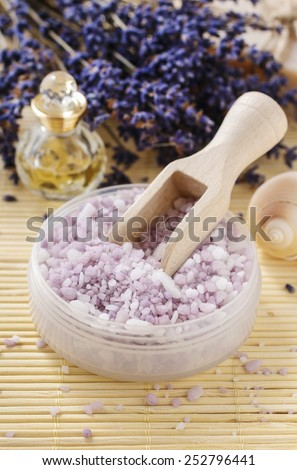 Bowl of lavender sea salt  - stock photo