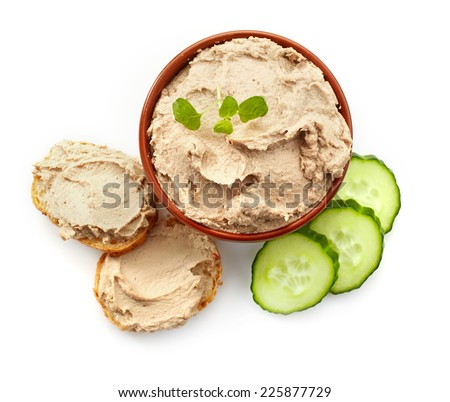 bowl of liver pate, top view isolated on white - stock photo