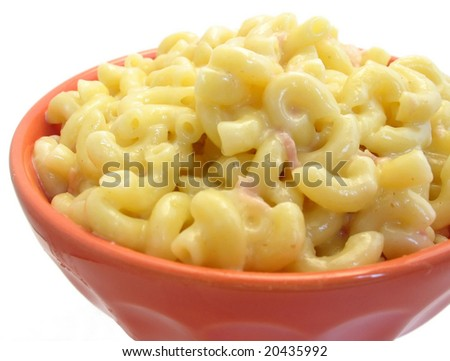 Bowl of macaroni and cheese on white, with ham and pepper - stock photo