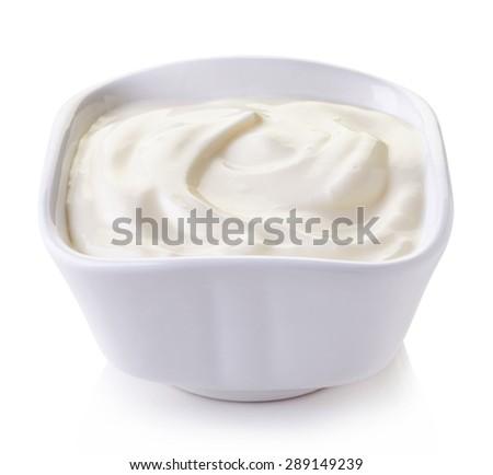 Bowl of mayonnaise isolated on white background - stock photo