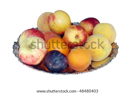 Bowl of Mixed Fruit isolated with clipping path