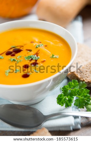 bowl of mixed pumpkin soup - stock photo