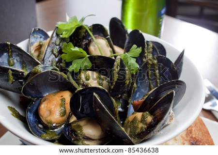 Bowl of Mussels at a Restaurant