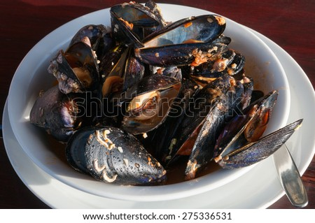 Bowl of Mussels with white wine sauce  - stock photo