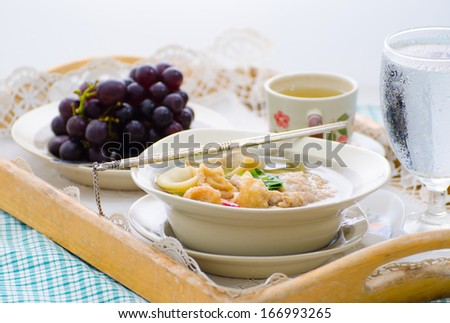 Bowl of noodle soup mix meat