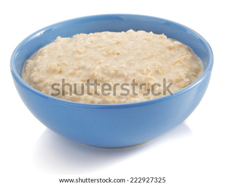 bowl of oatmeal isolated on white background - stock photo