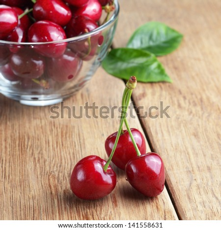 Bowl of organic Cherries on wooden table