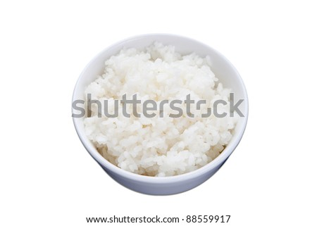 bowl of plain rice, isolated on on white - stock photo