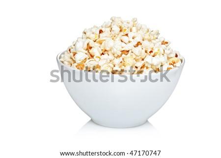 Bowl of popcorn isolated on white background - stock photo