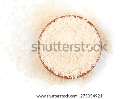 bowl of rice isolated on a white background - stock photo