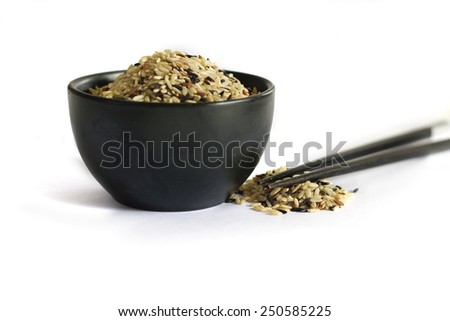 Bowl of rice isolated on white - stock photo