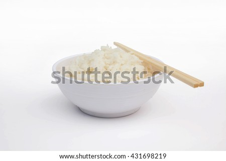 bowl of rice on a white background - stock photo