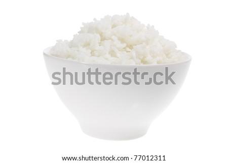 Bowl of Rice on White Background - stock photo