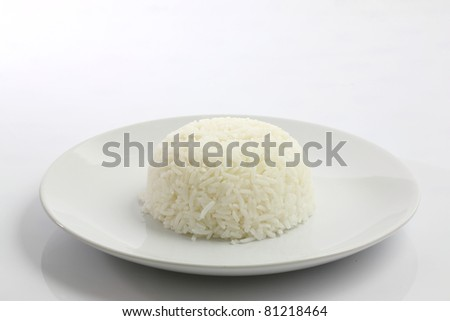 Bowl of Rice on White Background - stock photo