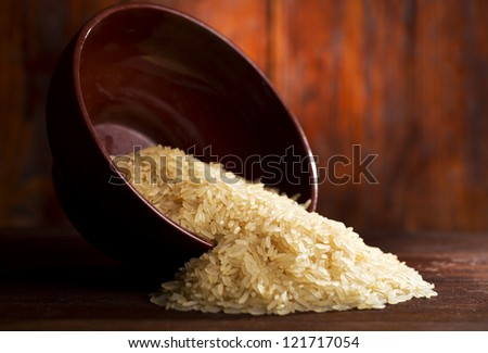 bowl of rice on wooden table