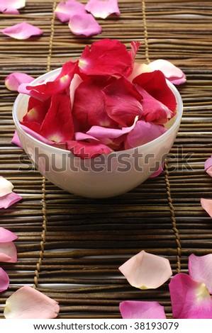 Bowl of rose petals - stock photo