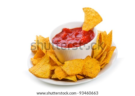 Bowl of salsa with tortilla chips on white background - stock photo