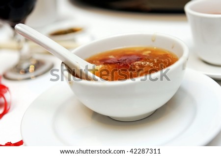 Bowl of shark's fin soup - stock photo