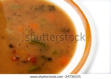 Bowl of soup ready to eat or serve - stock photo