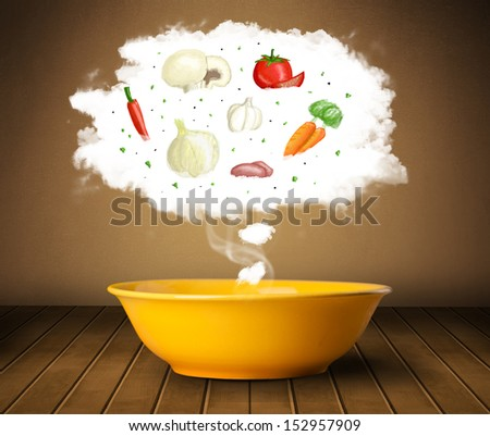 Bowl of soup with vegetable ingredients illustration in cloud on wood deck  - stock photo