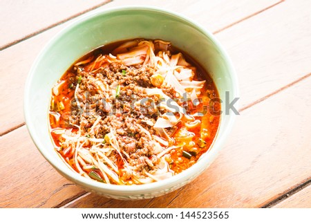 Bowl of spicy noodle soup, northern of thailand style cuisine