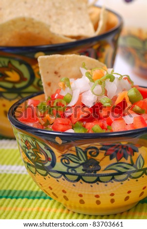 Bowl of spicy salsa with tomato, garlic and Serrano pepper - stock photo