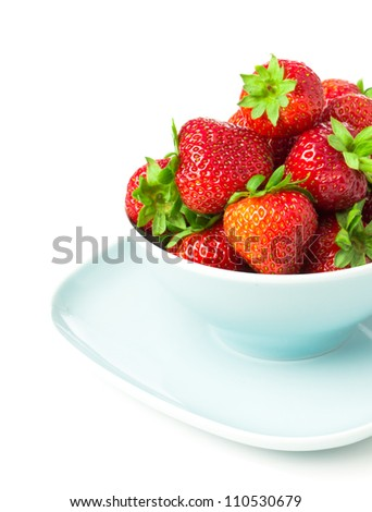 Bowl of strawberry  with fresh berry isolated on white background - stock photo