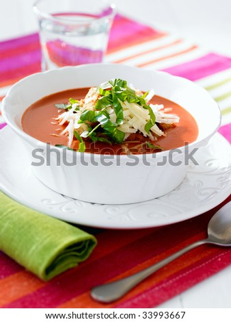 Bowl of tomato soup - stock photo