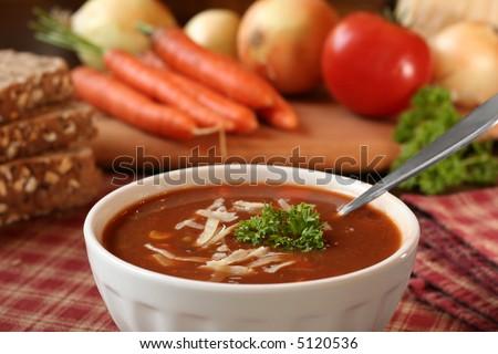 Bowl of tomato soup - stock photo