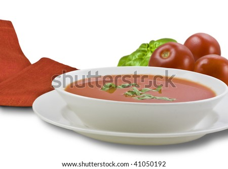 Bowl of Tomato Soup Illustrating Ingredients - stock photo