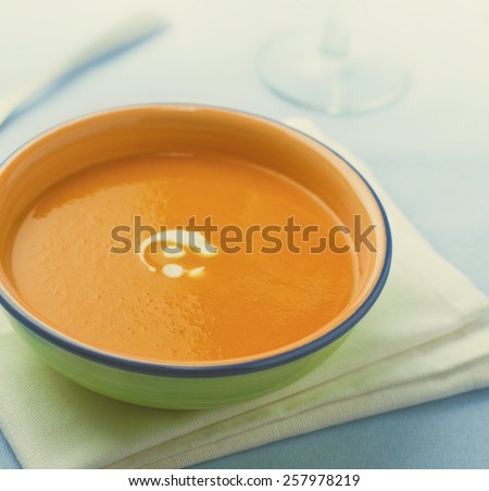 Bowl of veg soup. - stock photo