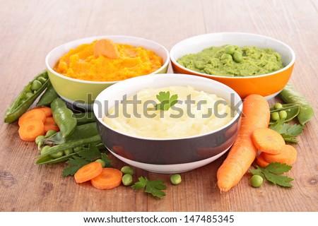 bowl of vegetable puree - stock photo