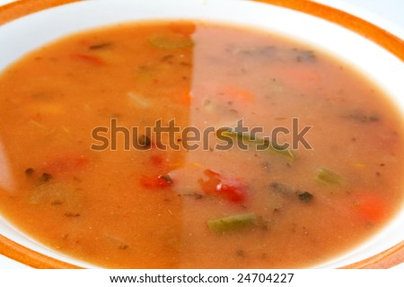Bowl of vegetable soup ready to eat or serve - stock photo