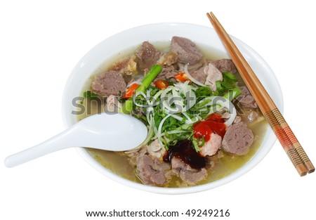 Bowl of Vietnamese food pho tai beef noodles - stock photo