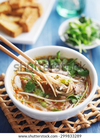 bowl of vietnamese Pho Tai beef soup - stock photo