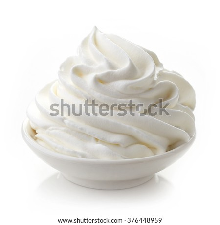 bowl of whipped cream isolated on white background - stock photo