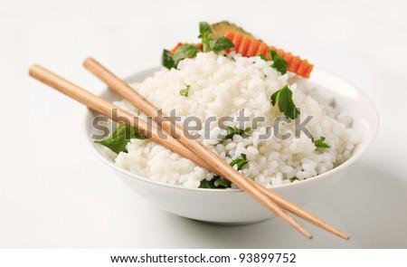 Bowl of white rice  - stock photo