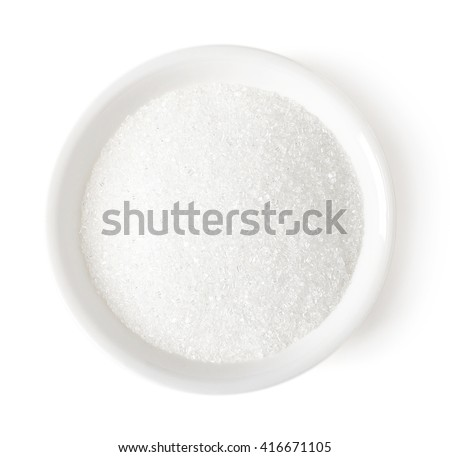 Bowl of white sugar isolated on white background, top view - stock photo