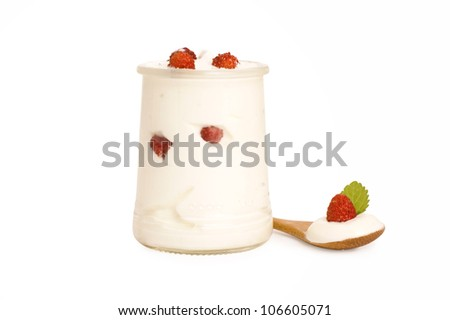 bowl of yogurt with wild strawberry isolated on white background