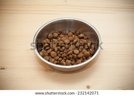 bowl with balls of dry pet foods - stock photo