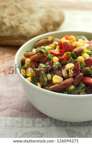 bowl with beans, corn and paprica