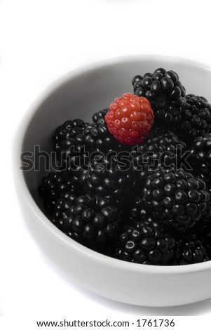 Bowl with blackberries - stock photo