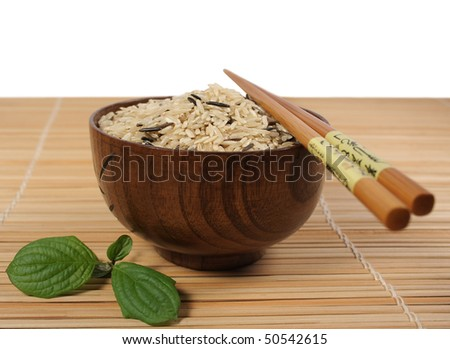 bowl with brown rice - stock photo