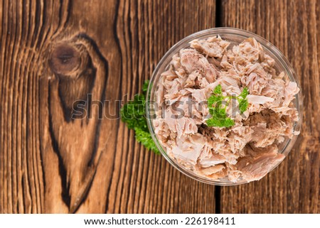 Bowl with canned Tuna (detailed close-up shot) - stock photo